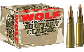 Wolf MC308SP168 Military Classic 308 Winchester/7.62 NATO Soft Point 168 GR - 500rd Case
