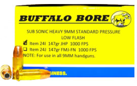 Buffalo Bore Ammunition 24I/20 9mm Luger 9mm Luger 147 GR Jacketed Hollow Point - 20rd Box