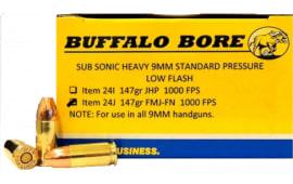 Buffalo Bore Ammunition 24J/20 9mm 9mm Luger 147 GR Full Metal Jacket Flat Nose - 20rd Box
