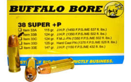 Buffalo Bore Ammunition 33B/20 38 Super +P Jacketed Hollow Point 124 GR - 20rd Box