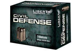 Liberty Ammunition LACD10032 Civil Defense 10mm 60 GR Hollow Point 20 Bx - 20rd Box