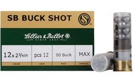 "Sellier & Bellot SB12BSI Shotgun 12 GA 2.75"" Lead 12 Pellets 1 Buck - 10sh Box"