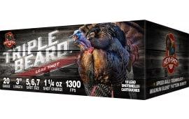 """Hevishot 92567 Triple Beard Turkey 20 GA 3"""" 1-1/4oz 5,6,7 Shot - 10sh Box"""