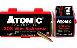 Atomic 00430 Subsonic 308 Winchester/7.62 NATO 175 GR SubSonic - 50rd Box