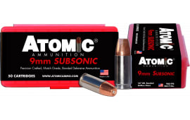 Atomic 00438 Subsonic 9mm Luger 147 GR Bonded Match Hollow Point - 50rd Box