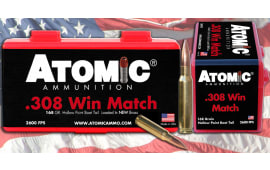 Atomic 00460 Match 308 Winchester/7.62 NATO 168 GR Tipped MatchKing - 20rd Box