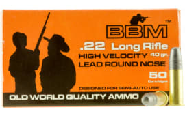 BBM 899033 High Velocity 22 Long Rifle (LR) 40 GR Copper-Plated Round Nose - 50rd Box