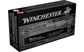Winchester Ammo SUP9 Super Suppressed 9mm Luger 147 GR Full Metal Jacket - 50rd Box