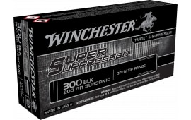 Winchester Ammo SUP300BLK Super Suppressed 300 AAC Blackout/Whisper (7.62x35mm) 200 GR Full Metal Jacket OT - 20rd Box