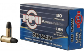 PPU PPH38SW Handgun 38 Smith & Wesson (S&W) 145 GR Lead Round Nose - 50rd Box