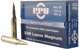 PPU PP338F Standard Rifle 338 Lapua Magnum 250 GR Full Metal Jacket - 10rd Box