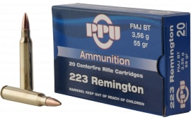 PPU PP223F1 Standard Rifle 223 Remington/5.56 NATO 55 GR Full Metal Jacket Boat Tail - 20rd Box
