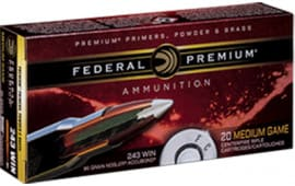 Federal P243A1 Vital-Shok 243 Winchester 90 GR Nosler AccuBond - 20rd Box