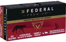 Federal P224VLKBT1 Premium 224 Valkyrie 60 GR Nosler Ballistic Tip - 20rd Box