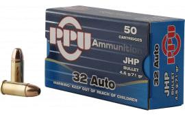 PPU PPR3.11 Handgun 32 ACP 71 GR Jacketed Hollow Point - 50rd Box