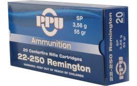 PPU PP24 Standard Rifle 22-250 Remington 55 GR Soft Point - 20rd Box