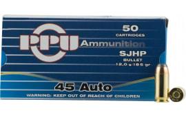 PPU PPR4.31 Handgun 45 ACP 185 GR Semi-Jacketed Hollow Point - 50rd Box