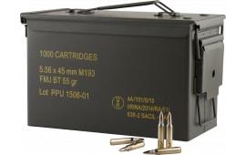 PPU PPN5561MC Mil-Spec M193 Metal Can 223 Remington/5.56 NATO 55 GR Full Metal Jacket Boat Tail - 1000rd Case