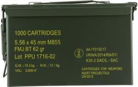 PPU PPN5562MC Mil-Spec M885 Metal Can 223 Remington/5.56 NATO 62 GR Full Metal Jacket Boat Tail - 1000rd Case