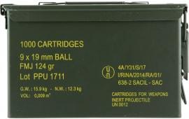 PPU PPN9MC Mil-Spec Metal Can 9mm Luger 115 GR Full Metal Jacket - 1000rd Case