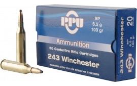 PPU PP2432 Standard Rifle 243 Winchester 100 GR Soft Point - 20rd Box