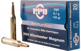 PPU PP264 Standard Rifle 264 Winchester Magnum 140 GR Pointed Soft Point - 20rd Box