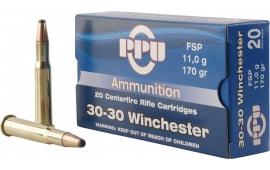 PPU PP30302 Standard Rifle 30-30 Winchester 170 GR Flat Soft Point - 20rd Box