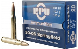 PPU PP30062 Standard Rifle 30-06 165 GR Pointed Soft Point - 20rd Box