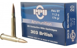 PPU PP303F Standard Rifle 303 British 174 GR Full Metal Jacket - 20rd Box