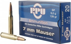 PPU PP3003 Metric Rifle 7mm Mauser 139 GR Soft Point - 20rd Box