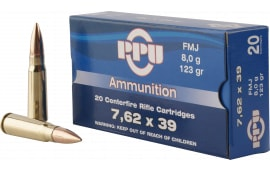 PPU PP338H Metric Rifle 7.62x39mm 123 GR Full Metal Case - 20rd Box