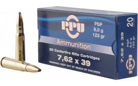 PPU PP375S Metric Rifle 7.62x39mm 123 GR Pointed Soft Point - 20rd Box