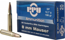 PPU PP8S Metric Rifle 8mm Mauser 196 GR Soft Point - 20rd Box