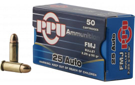 PPU PPH25 Handgun 25 ACP 50 GR Full Metal Jacket - 50rd Box