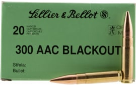 Sellier & Bellot 300BLKSUBA Rifle 300 AAC Blackout 200 GR Full Metal Jacket Subsonic - 20rd Box