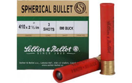 "Sellier & Bellot SB410A Shotgun 410GA 2.5"" Lead 3 Pellets 000 Buck - 25sh Box"