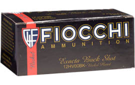"Fiocchi 12HV00BK High Velocity 12GA 2.75"" Nickel-Plated Lead 9 Pellets 00 Buck - 10sh Box"
