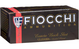 "Fiocchi 12LE00BK High Velocity 12GA 2.75"" Nickel-Plated Lead 9 Pellets 00 Buck - 10sh Box"