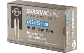 PPU PPS76239 7.62x39 SUB 182 FMJ - 20rd Box
