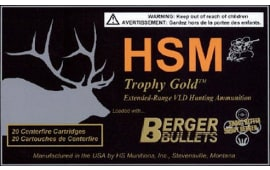 HSM BER308168VLD Trophy Gold 308 Win/7.62 NATO 168 GR Boat Tail Hollow Point - 20rd Box