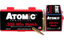 Atomic 00426 Match 308 Winchester/7.62 NATO 168 GR Hollow Point Boat Tail - 50rd Box
