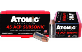 Atomic 00439 Subsonic 45 ACP 250 GR Bonded Match Hollow Point - 50rd Box