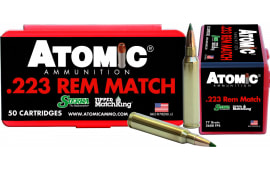 Atomic 00452 Match .223/5.56 NATO 77 GR Tipped MatchKing - 50rd Box