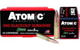 Atomic 00465 Subsonic 300 AAC Blackout/Whisper (7.62X35mm) 220 GR HPB Tail - 50rd Box