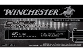 Winchester Ammo SUP45 Super Suppressed 45 ACP 230 GR Full Metal Jacket - 50rd Box