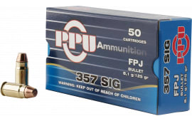 PPU PPH357S Handgun 357 Sig 125 GR Flat Point Jacketed - 50rd Box
