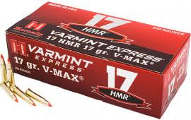 Hornady 831702 Varmint Express 17 Hornady Magnum Rimfire (HMR) 17 GR V-Max - 200rd Box