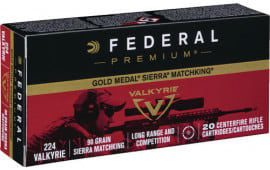 Federal GM224VLK1 Gold Medal 224 Valkyrie 90 GR Sierra MatchKing Boat Tail Hollow Point - 20rd Box