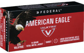 Federal AE224VLK1 American Eagle 224 Valkyrie 75 GR Total Metal Jacket - 20rd Box
