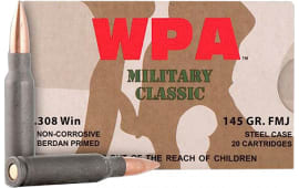 Wolf MC308FMJ145 Military Classic 308 Winchester/7.62 NATO 145 GR Full Metal Jacket 500 Rds - 500rd Case